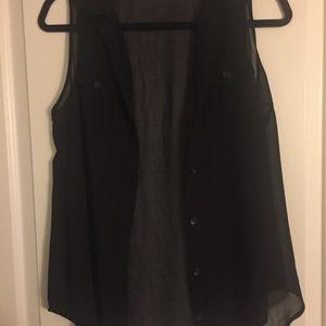 F21 Black Sheer Sleeveless (SMALL)